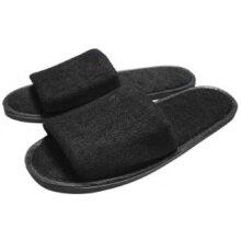 Black Towelling Open Toe Slippers