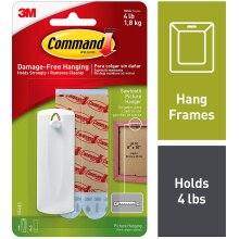 Command Sawtooth Picture Hanger Kit with Command Adhesive Strips - 1 Pack - Hanger Holds up to 1.8Kg (4lb) - 75 mm x 25 mm