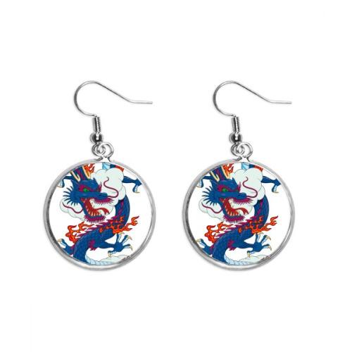 China Chinese Dragon Cloud Pattern Ear Dangle Silver Drop Earring Jewelry Woman
