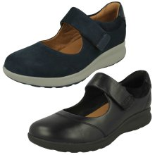 Ladies Clarks Casual Flat Mary Jane Shoes Un Adorn Strap - D Fit