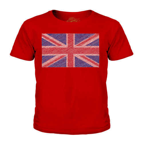 Candymix - Great Britain Union Jack Scribble Flag - Unisex Kid's T-Shirt