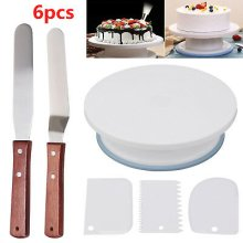 """Cake Decorating Turntable 11""""-24 nozzles-Mould-Pen-Spatula-Bags"""