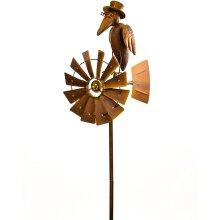 Rustic Brown Metal Spinning Wheel Top Hat Bird Windmill Stake Garden Ornament