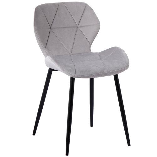 (Velvet Grey) Set of 2 Diamond Patterned Dining Chair