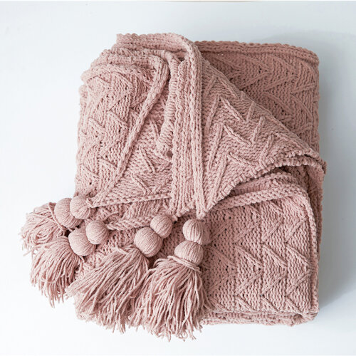(Pink) Solid Color Knitted Throws with Fringe Chenille Cozy Throw Blanket Decorative Throws