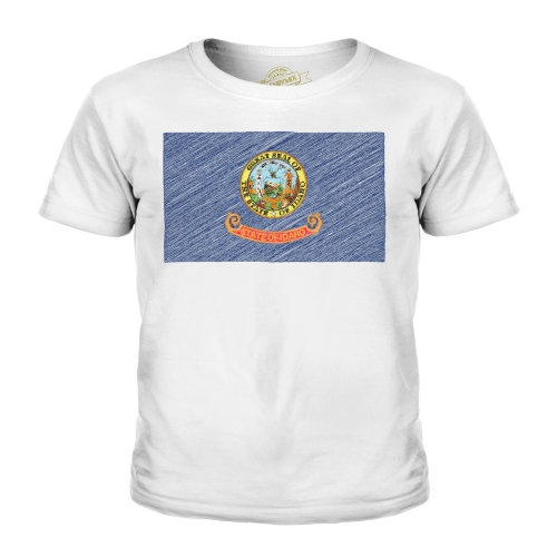 Candymix - Idaho State Scribble Flag - Unisex Kid's T-Shirt