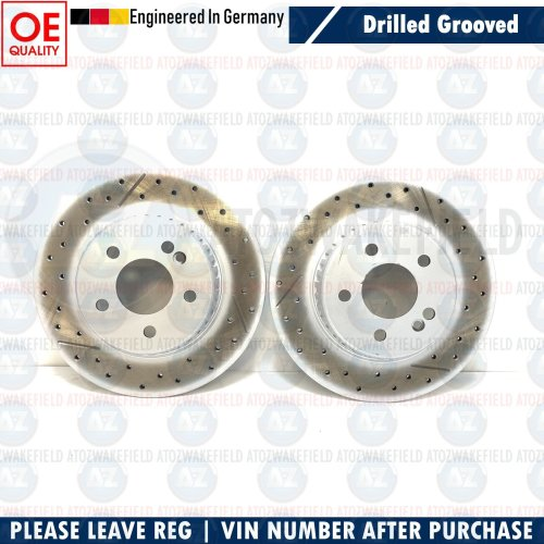 FOR MERCEDES C CLASS AMG REAR DRILLED GROOVED BRAKE DISCS SOLID 300mm