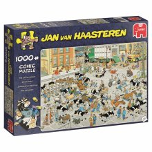 Jumbo 19075 Jan Van Haasteren-The Cattle Market 1000 Piece Jigsaw Puzzle, Multi