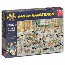Jumbo 19075 Jan Van Haasteren-The Cattle Market 1000 Piece Jigsaw Puzzle, Multi