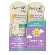 Aveeno Baby Continuous Protection Zinc Oxide Mineral SPF 50 Sunscreen Lotion 3 fl oz / 88 mL (2 Pack)