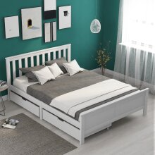 Wooden Solid White Pine Bed Frame Furniture with Drawers Storage for Adults, Kids, Teenager