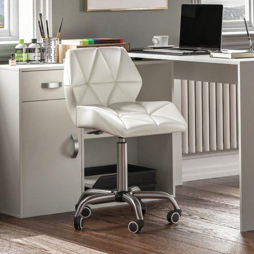 (White) Geo Computer Office Chair Home Leather Adjustable