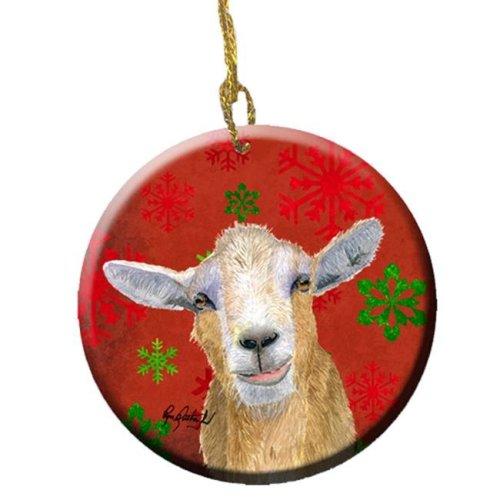 Goat Candy Cane Holiday Christmas Ceramic Ornament