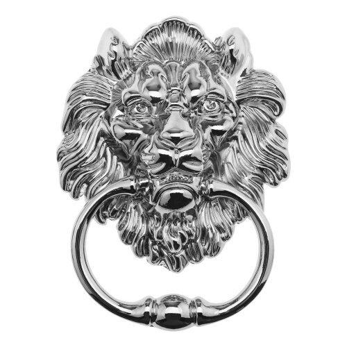 15.8cm Lion Head Door Knocker Polished Chrome Antique Design for Front Door