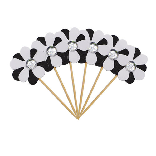 6PC Flicker Flower Petal Cake Toppers White