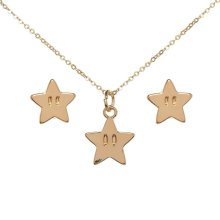 Super Mario Super Star Earrings and Necklace Set