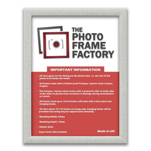(White, 24x10 Inch) Glitter Sparkle Picture Photo Frames, Black Picture Frames, White Photo Frames All UK Sizes