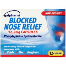 Galpharm Blocked Nose Relief 12.2mg Capsules 12 Pack- Relief of Nasa