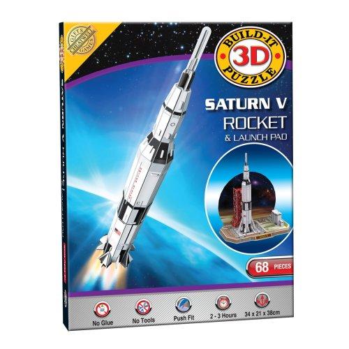 Build Your Own 3d Puzzle Model Kit - Saturn V Rocket (68 Pieces)