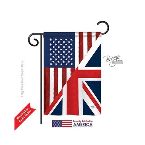 Breeze Decor 58380 US UK Friendship 2-Sided Impression Garden Flag - 13 x 18.5 in.
