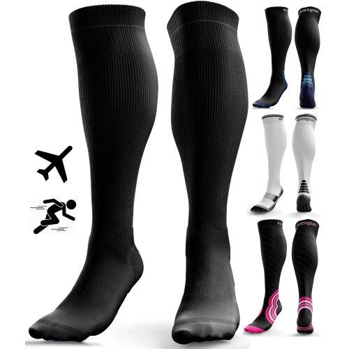(Black (No Logo), S/M) Graduated Compression Socks for Sports, Flight Travel and Anti-DVT
