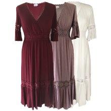 Women's Boho Folk Gypsy Empire Midi V Neck Dress