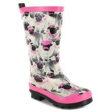 New Girls/Childrens Grey/Pink Cute Pug Print Wellington Boots UK Size