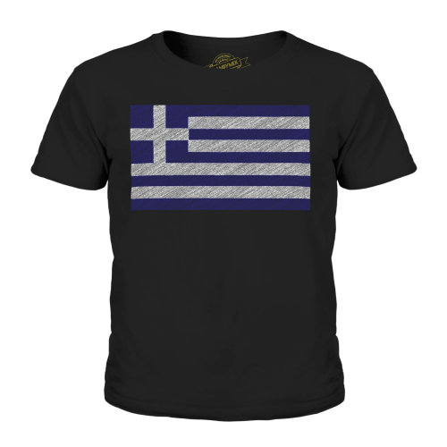 (Black, 5-6 Years) Candymix - Greece Scribble Flag - Unisex Kid's T-Shirt
