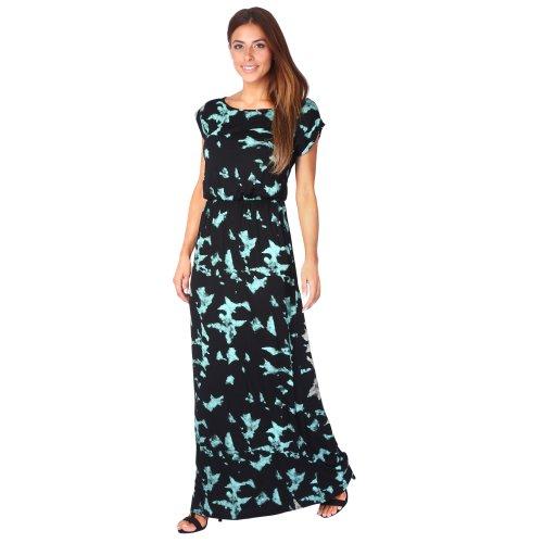 (Turquoise, 8) Tie Dye Jersey Maxi Dress