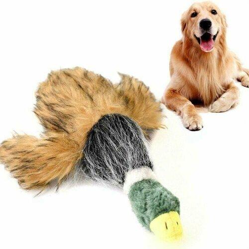 Pet Mallard Duck Dog Toy Plush Puppy Squeaky Dog Chew Toy