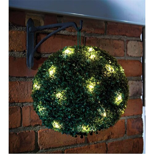 (Green) MTS Solar Topiary Ball Sphere/Pagoda/Heart Bush Garden Patio Ornament 20 LED Lights (1 x Hanging Topiary Ball)