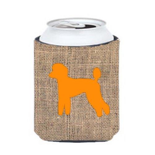 Poodle Burlap And Orange Can Or Bottle  Hugger