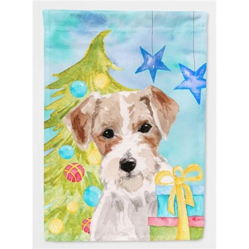 Wire Hair Jack Russell Christmas Flag Canvas House