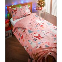 New Kids Christmas Duvet Set 1 x Single Duvet Cover 1 x Pillowcase-Santa (Pink)