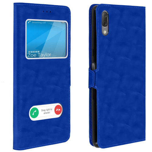 Double window flip standing case for Sony Xperia L3 TPU shell - Blue