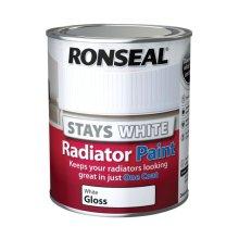 Ronseal Stays White Radiator Paint - White Gloss- 750ml