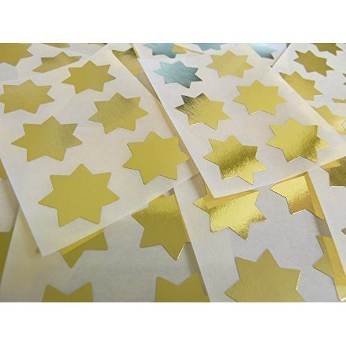 """25mm (1"""") Star Shape Colour Code Stickers - Packs of 90 Large Coloured Stars Sticky Labels - 32 Colours Available (Shiny Gold)"""