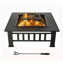 MCC Fire Pit Firepit Outdoor Brazier Garden BBQ Square Table Stove Patio Heater A