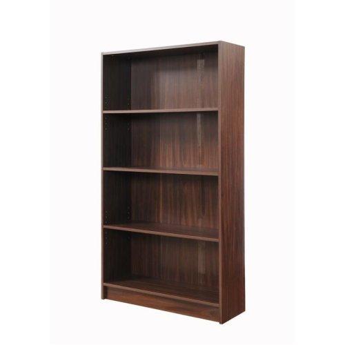 Walnut 4 Tier Wooden Bookcase Shelving Display Shelves Storage Unit Wood Shelf