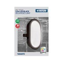 Taranto LED Bulkhead Fitting - Black - 5.5W