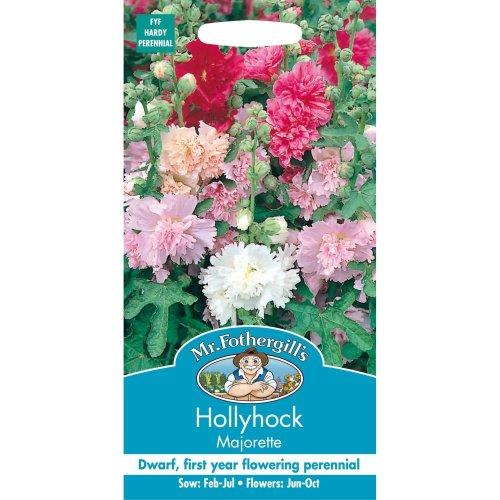 Mr Fothergills - Pictorial Packet - Flower - Hollyhock Majorette Mixed - 50 Seeds