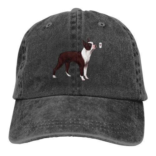 Kiss Boston Terrier Denim Baseball Caps