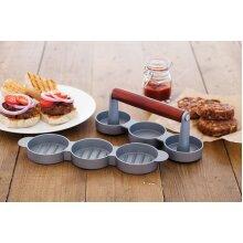 Triple Mini Burger Press Hamburger Maker Non Stick Aluminium Beef Patty Meat BBQ