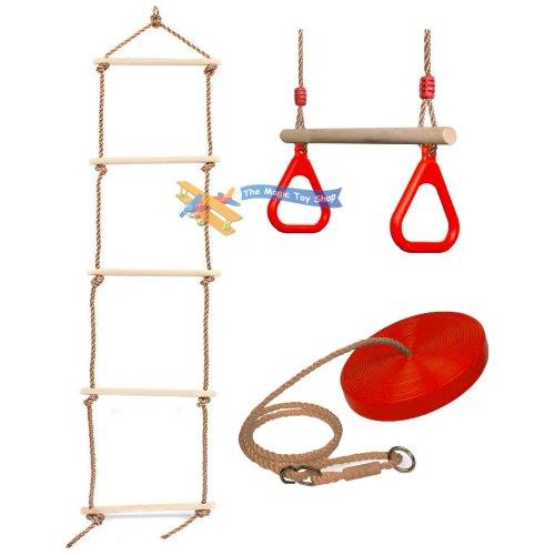 3pc The Magic Toy Shop Ladder, Trapeze & Swing Set | Kids' Garden Activity Set