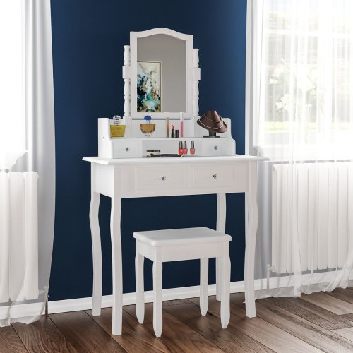 Nishano White Dressing Table With Drawers & Stool   Vanity Table