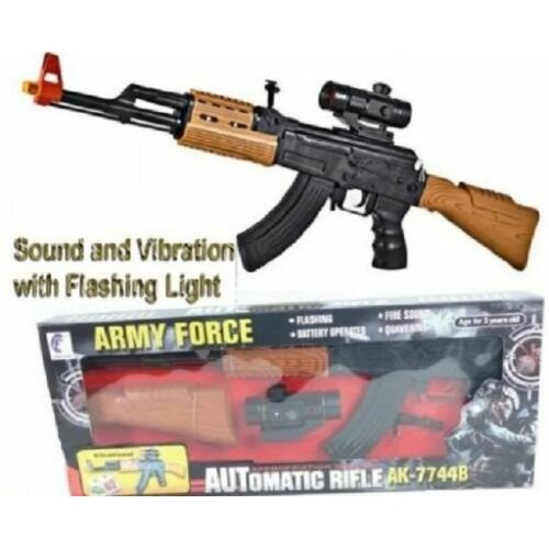 Army Force AK-47 Rifle Toy Swat Gun Light Sound & Vibration 85cms