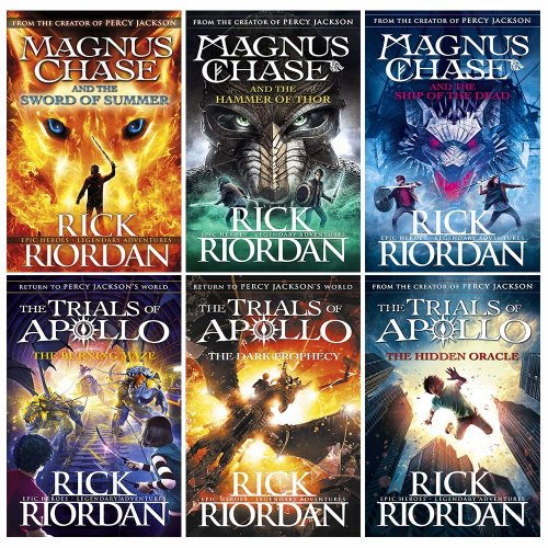 Rick riordan Trials of apollo and Magnus chase collection 6 books set