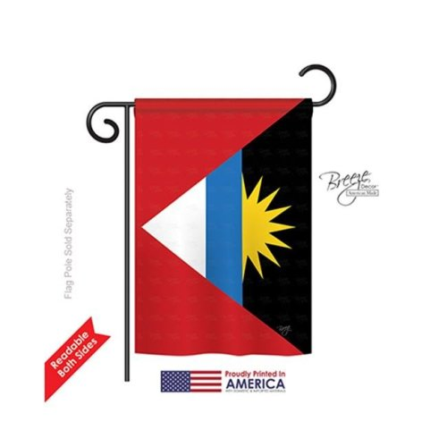 Breeze Decor 58281 Antigua & Barbuda 2-Sided Impression Garden Flag - 13 x 18.5 in.