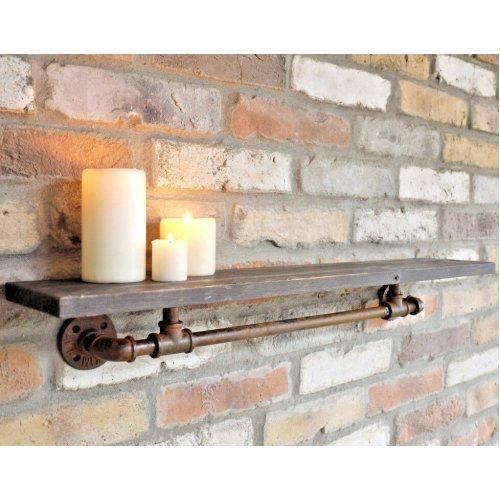 Retro Wooden Pipe Shelf Industrial Wall Mount Shelving Storage