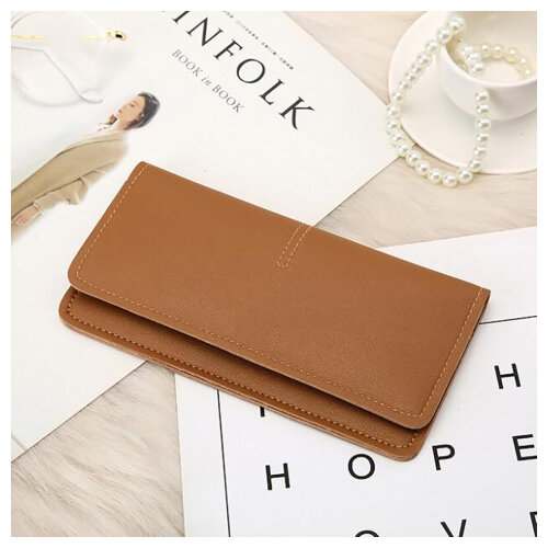 Soft PU Leather Bifold Multi Card Holder Wallet, Elegant Clutch Long Purse for Women Ladies-Brown